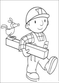 bob builder holding wood coloring free printable