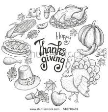 thanksgiving day set vintage stock vector 159552980