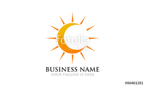 crescent moon and sun logo stock image and royalty free vector