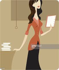 a woman standing at desk while holding a notebook vector art