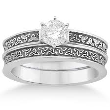 white gold wedding band sets carved celtic engagement ring wedding band set 14k white gold