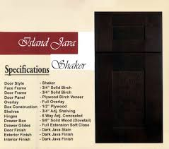 island java shaker cabinets island java shaker kitchen cabinets specifications