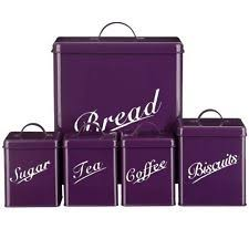 purple kitchen canisters 5pc tea coffee sugar biscuit bread bin canister set kitchen