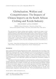 globalisation welfare and competitiveness the impacts of chinese
