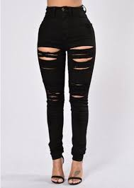 Black Skinny Jeans With Holes Sedrinuo New Fashion Black Ripped Jeans For Women Holes High Waist