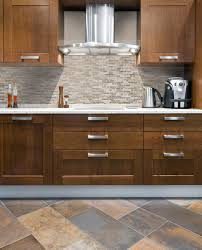 simple kitchen style ideas with glass stick tile backsplash