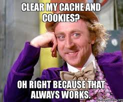 Clear Meme - clear my cache and cookies oh right because that always works