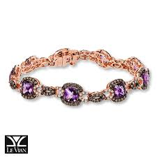 14k gold large diamond amethyst jared le vian amethyst 2 3 4 ct tw diamonds 14k gold bracelet