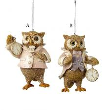 resin dressed owl ornament and city