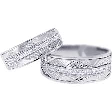 wedding band sets for him and diamond vintage wedding bands set for him 18k gold 0 33ct
