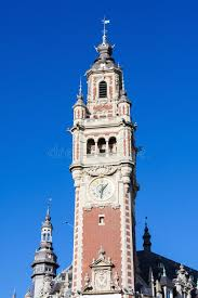 chambre des commerces lille clock tower at the chambre de commerce in lille stock