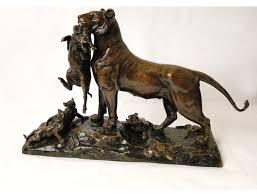 lioness sculpture lioness cubs bronze sculpture auguste cain susse frères 19th