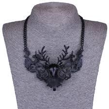vintage black pendant necklace images Lalynnly vintage hollow out deer black pendant necklace black jpg