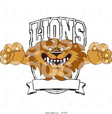 royalty free vector logo of a cartoon lion mascot with