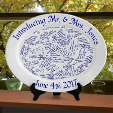 personalized wedding plate wedding plate personalized wedding gift with real ceramic signatures