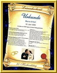 leinenhochzeit urkunde als geschenk zum 35 hochzeitstag - 35 Hochzeitstag Geschenk
