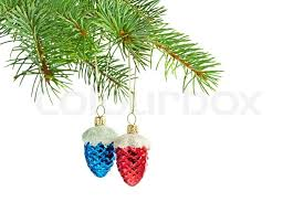 new year toys new year toys blue and cones on christmas tree stock photo