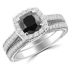 black diamond wedding set 2 26ct cushion cut black diamond halo engagement ring set