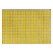 chroma medium yellow and grey cotton rug 140 x 200cm bedroom