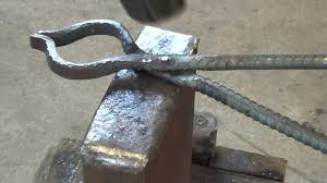 how to forge a pair of blacksmithing tongs out of rebar youtube