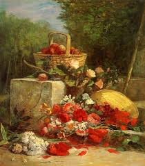 flowers and fruit flowers and fruit in a garden eugene boudin painting