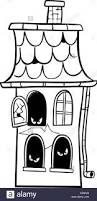 black and white cartoon illustration of scary halloween haunted
