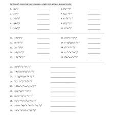 powers of monomials worksheet worksheets