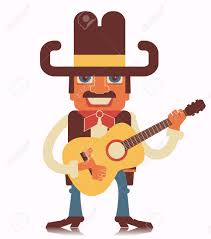 cowboy playing guitar vector country music flat design style