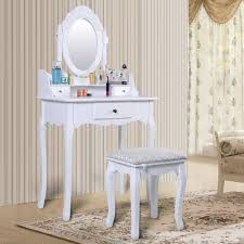 vintage white dressing table set with adjustable oval mirror and