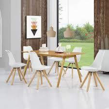 Esszimmertisch Set En Casa Esstisch Bambus Braun Mit 6 Stühlen Weiß Tisch 180x80