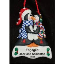 personalized penguins engagement ornament