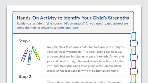 printable activity to identify your child u0027s strengths