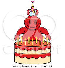 clipart gopher making a wish over candles on a birthday cake