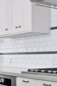 tile borders for kitchen backsplash subway tile found white with beveled edges with one accent