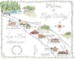 Illinois On A Map by Napa Valley Custom Wedding Map Illustrated Napa Map Black