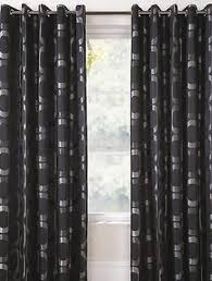 Curtains 46 Inches Changingbedrooms Eyelet Ring Top Black Silver Osborne Ready