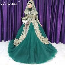 real photos long sleeves tulle muslim wedding dresses hijab lace