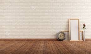 wall interior empty vintage interior with brick wall clock and blank frame