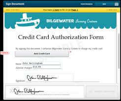 credit card authorization form template approving charges using