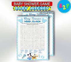 baby mickey mouse word search game blue baby shower word