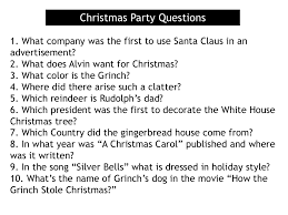 christmas party questions 1 what