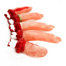 horrible bloody fake plastic severed body part finger scary