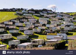 mobile home park on jurassic coast at beer devon uk stock photo