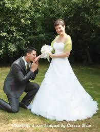 mariage original bouquet mariage original tissu blanc vert anis sur mesure