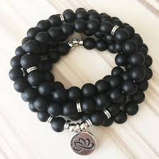 black bracelet onyx images Black onyx lotus mala bracelet necklace prana heart everyday JPG