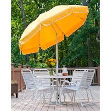 Orange Patio Umbrella by 7 5 Ft Frankford Acrylic Fiberglass Patio Umbrella With Valance