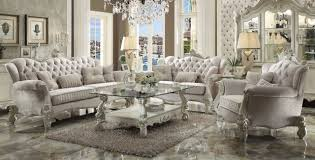 Fabric Living Room Furniture Versailles Sofa Ivory By Acme