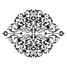 flower design illustration black and white clipart ornamental