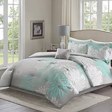 Green And Gray Comforter Amazon Com Comfort Spaces U2013 Enya Comforter Set 5 Piece U2013 Aqua