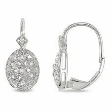 leverback earrings 1 8 ct t w diamond filigree leverback earrings in sterling